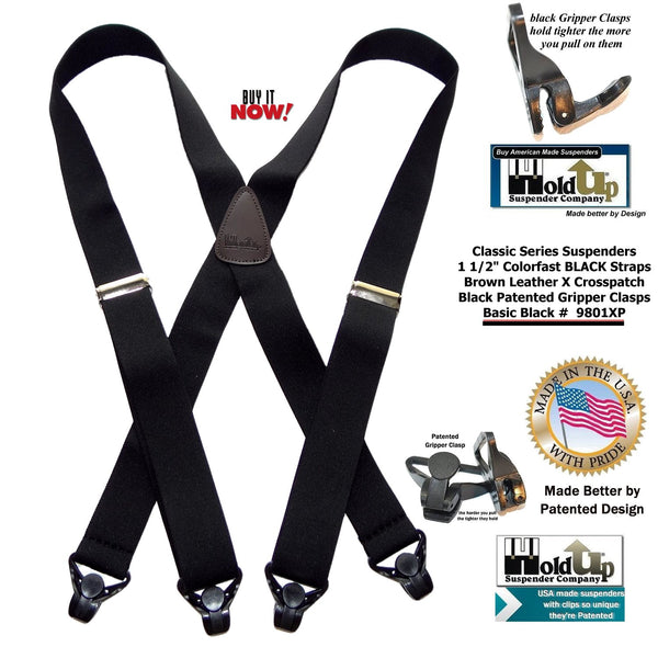 HoldUp Brand Classic Series Basic Black Suspenders with Black Gripper Clasp