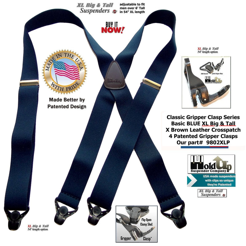 Big and Tall Classic BLUE Holdup X-back XL Suspenders with Patented black Gripper Clasps