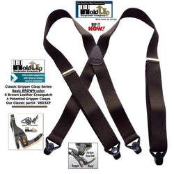 Classic Series Holdup Basic Brown X-back Suspenders with black patented Gripper Clasps