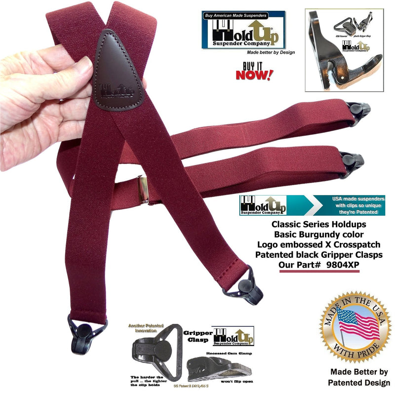 Classic Holdup Dark Burgundy X-back Suspenders with black patented Gripper Clasps