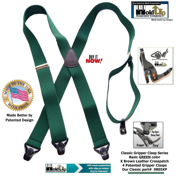 Holdup Classic Series X-back Gripper Clasp Suspenders in basic dark Green color