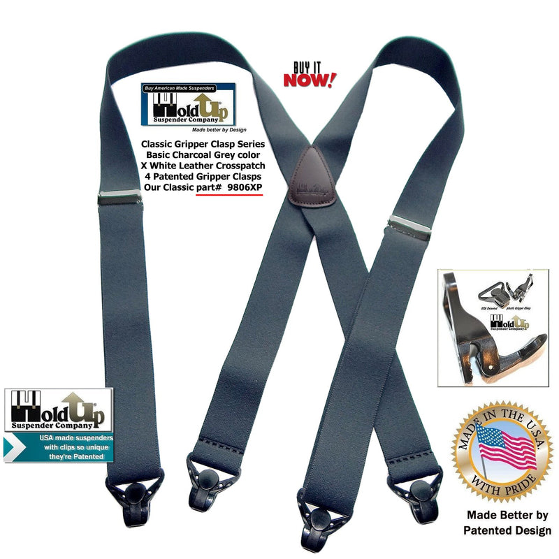 Classic Charcoal Grey Holdup X-back Suspenders with Patented strong black Gripper Clasps