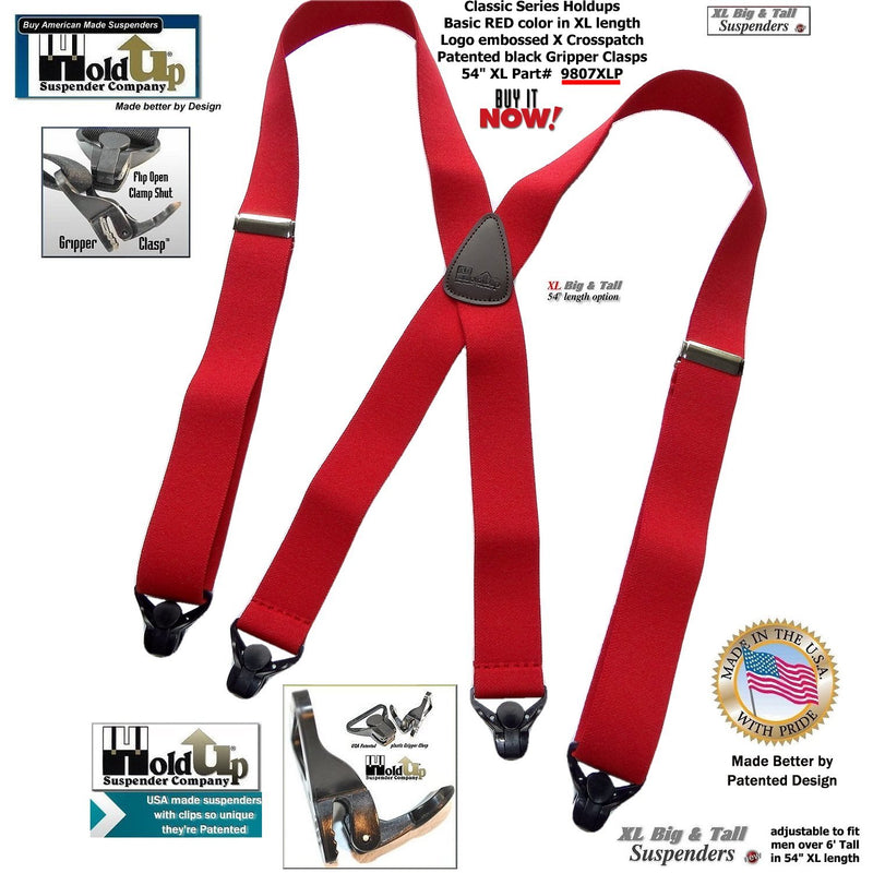 Big and Tall Classic RED Holdup X-back XL Suspenders with Patented black Gripper Clasps