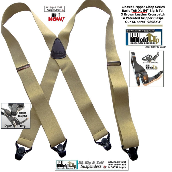 Big and Tall Classic Tan Holdup X-back XL Suspenders with Patented black Gripper Clasps