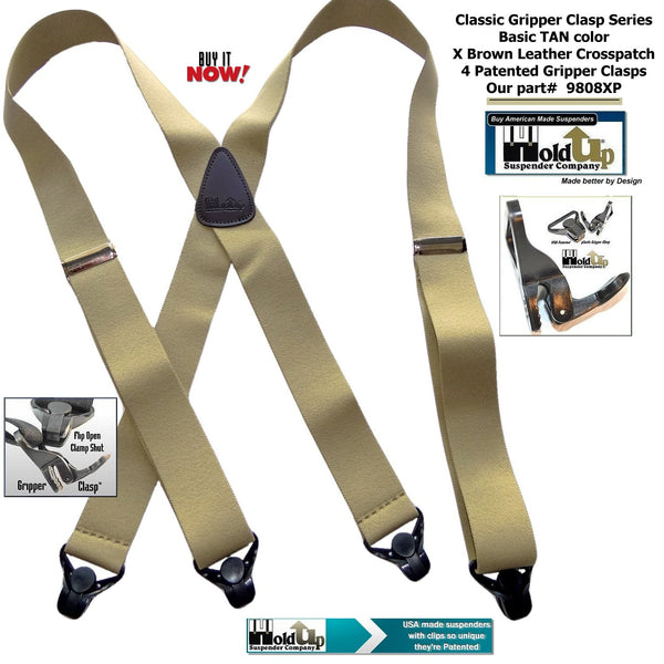 Classic Holdup Basic Tan X-back Suspenders with black patented Gripper Clasps