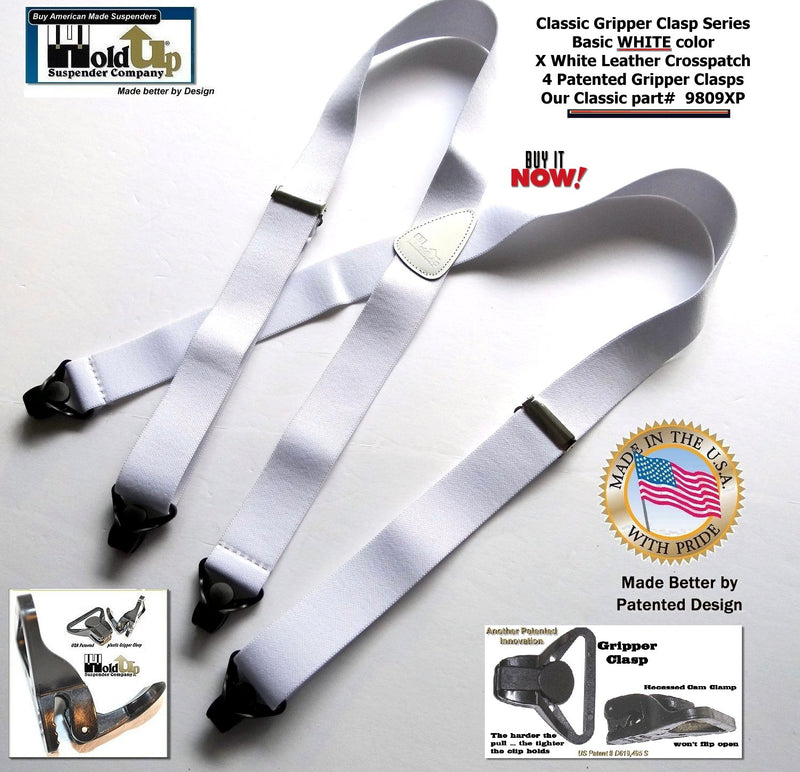Classic X-back Holdup White Suspenders in Classic Series with black patented Gripper Clasps