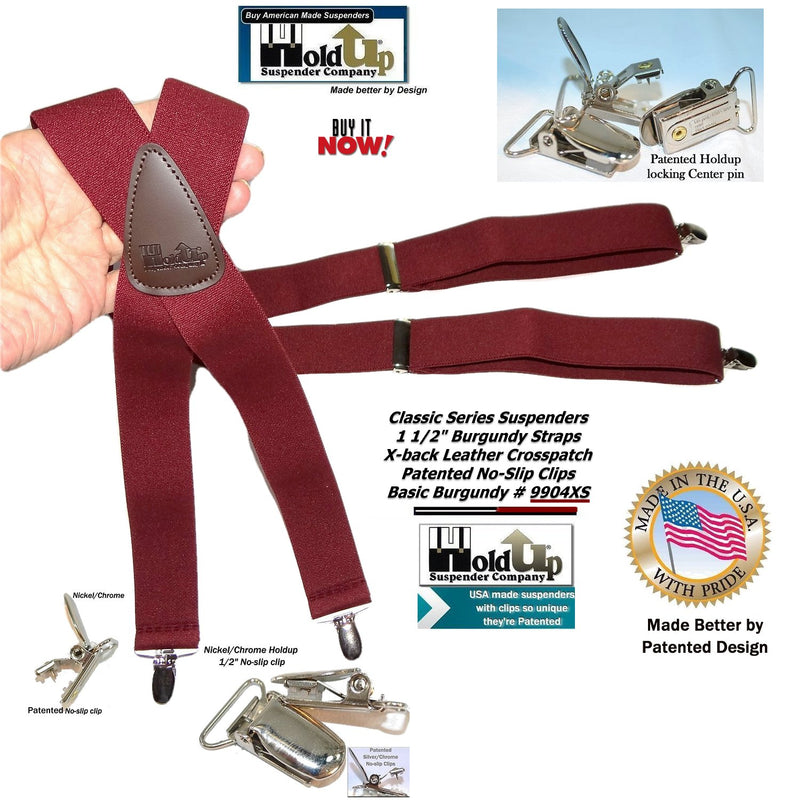 Classic Burgundy X-back Holdup Suspenders with Silver-tone patented No-slip Clips