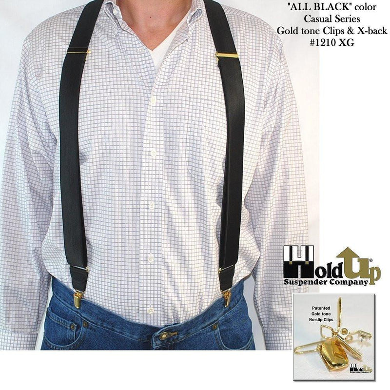 Holdup USA made All Black Casual Series Suspenders in X-back style and patented Gold No-slip Clips