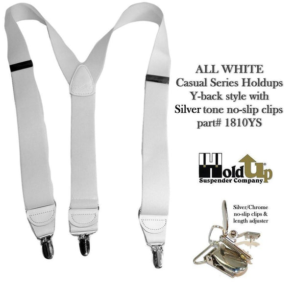 "Hold-Ups All White 1 1/2"" wide Casual Series Suspenders Y-back patented silver No slip clips"