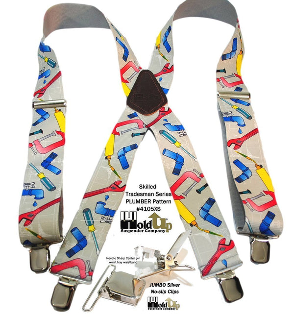 "Hold-Ups 2"" Wide Work Suspenders in Plumber Pattern X-back with Patented jumbo No-slip Clips"