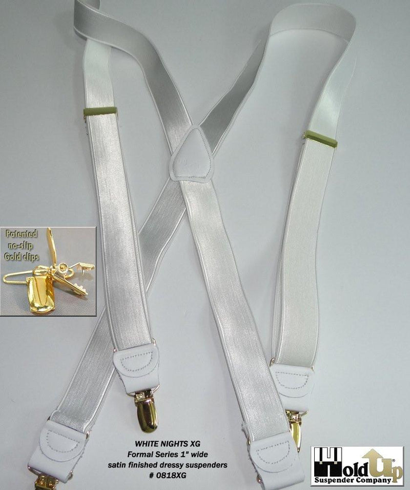 "Hold-Ups 1"" wide Satin finish White Formal Suspenders X-back Patented No-slip gold clips"