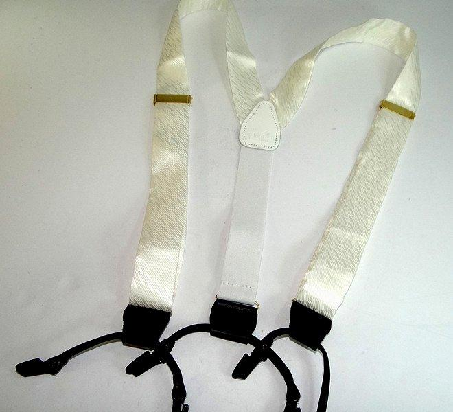 HoldUp Alabaster White Tie Silk Suspenders In Double-Up style with dual black Patented No-slip Clips