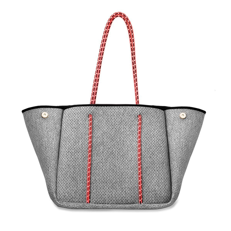 Neoprene Tote in Light Heather with Coral Straps