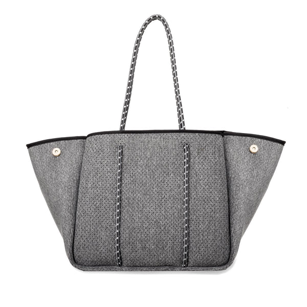 Neoprene Tote in Dark Heather with Charcoal Straps