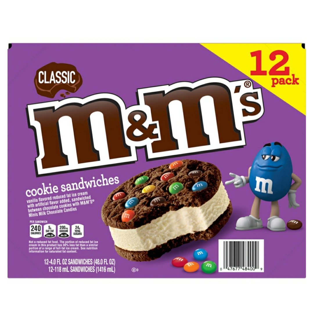 M&M's Chocolate Ice Cream Cookie Sandwiches