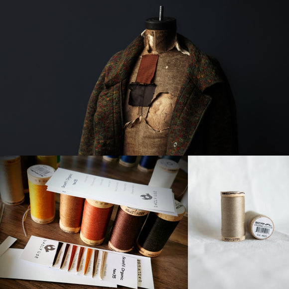 3 photo collage, coat ontaylors mannequin, sample selection of scanfil organic cotton thread in autumn colours and single cotton spool in wheat