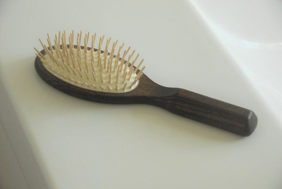 Hair Brush - Oval Thermowood with wooden pins
