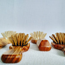 Hair Brush - olive wood with wooden pins in rubber cushion