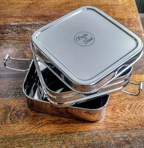 Steel Twin Layer Square Lunch Box