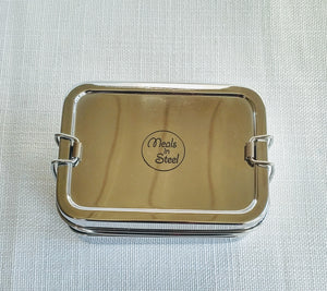 Stainless Steel Twin Layer Rectangular Lunch Box Lrg