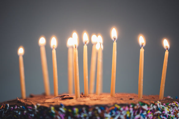 11 thin beeswax birthday candles light up a chocolate birthday cake