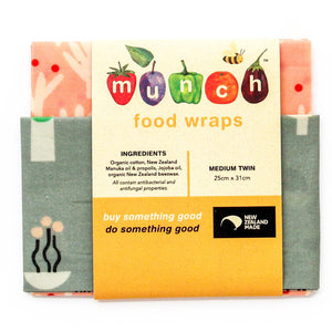 Munch Organic VEGAN Food wraps - twin pack small