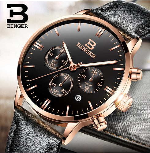 Mens Watches Top Brand Luxury BINGER Men Military Sport Luminous Wristwatch Chronograph Leather Quartz Watch relogio masculino
