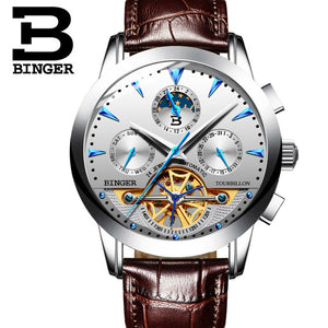2016 BINGER Luxury Watch Men Day/Month Flywheel Mechanical Watches Leather Men's Automatic Watch Wristwatch Free ship B-1188G