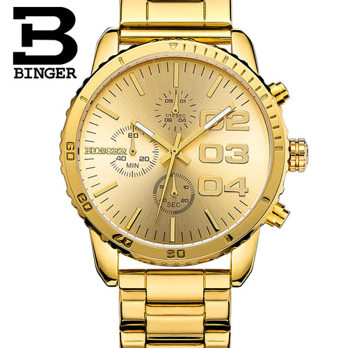 Men Watches 2015 BINGER Top Luxury Brand Watches For Men Chronograph Large Dial Individuality Steel waterproof watch Gold Watch