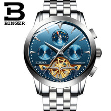 Tourbillon Men Top Luxury Brand Watches Automatic Mechanical Watch Stainless Steel Waterproof BINGER relogio masculino B-1188G