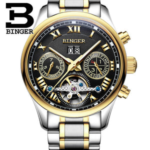 Top Brand Watches 2017 New BINGER Tourbillon Clock Men Automatic Mechanical Watch Leather Strap Gold Wristwatches 3atm B-8602
