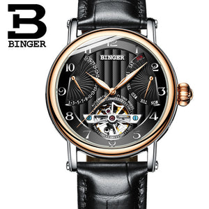 Tourbillon Automatic Watch Mens Mechanical Multifunction Watches Top Brand Luxury Clock BINGER Leather Strap relogio masculino