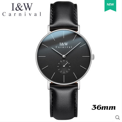 Ultra-thin simple design Top Brand Luxury Carnival Japan Quartz Watch Leather Clock Relojes Mujer Montre Femme Horloge Sapphire