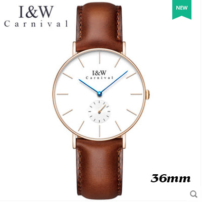 Ultra-thin simple design Top Brand Luxury Carnival Women Japan Quartz Watch Sapphire Crystal relogio feminino Leather Band 2017