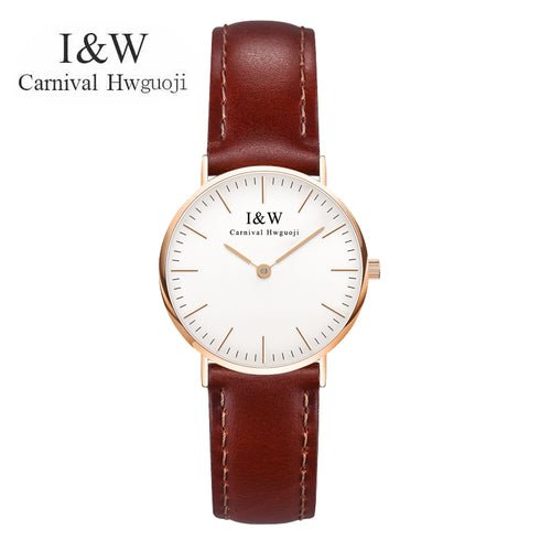 New CARNIVAL Top Brand Women Quartz Watches Brown Leather Strap Rose Gold Case Classic Casual Fashion Classic Wristwatches 8758L