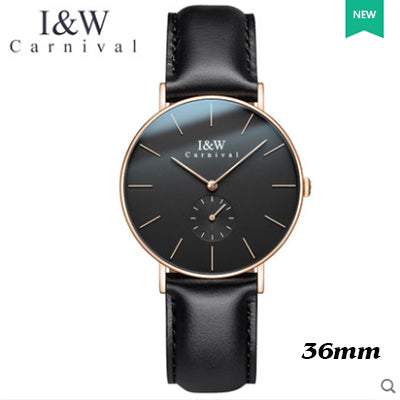 Carnival Japan Quartz Watch Leather Rose Gold