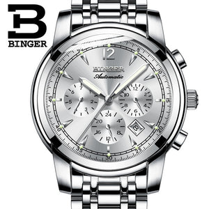 Watches Men Luxury Brand BINGER Automatic Mechanical Watch Waterproof Perpetual Calendar Leather Wristwatch relogio masculino