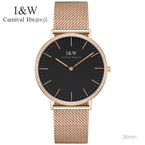 CARNIVAL Thin Simple Europe Design Sapphire Glass Quartz Watch Women Weave Stainless Steel Ladies Watches Top Brand Luxury 2017