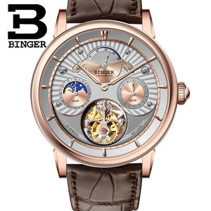 Top High Quality Luxury BINGER Brand Seagull Tourbillon Mechanical Watch Crocodile Leather Strap Sapphire Men Automatic Watches