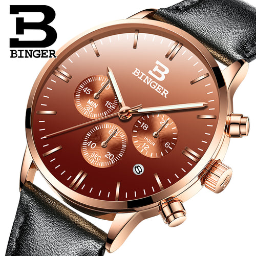 BINGER Hot Mens Watches Military Army Top Brand Luxury Sports Casual Waterproof Mens Watch Quartz Leather Man relogio masculino