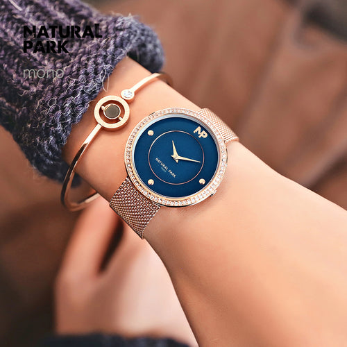 NATURAL PARK Brand Rose Gold Quartz Women Watches Luxury Steel Clock Bracelet Ladies Wrist Watches Female Sport Relogio Reloj