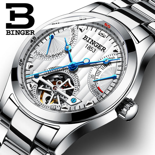 Switzerland Automatic Watches Men Luxury Brand Clock BINGER Business Stainless Steel Mechanical Wristwatches Power Display 2018