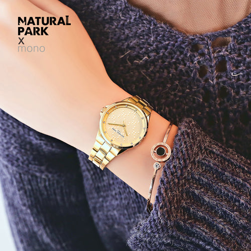 NATURAL PARK Fashion Women Dress Watches Luxury Women's Casual Ladies Rhinestone Quartz Watch Wristwatches Relogio Feminino