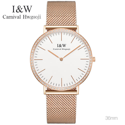 Slim 6mm Dial CARNIVAL New Classic Women Fashion Watches Couple Lover Wristwatch Rose gold Steel Band Quartz Hour Clock Hot Sale