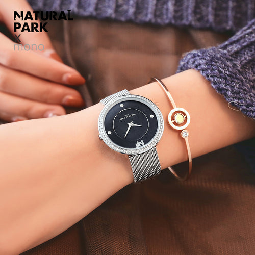NATURAL PARK Slim Gold Mesh Stainless Steel Watches Women Brand Luxury Casual Clock Woman Wrist Watch Lady Relogio Feminino