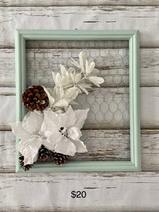 Sensible Sage Framed Chicken Wire Christmas Decoration