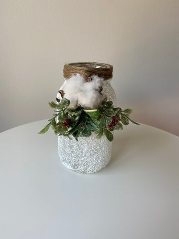 Small frosted mason jar centrepiece