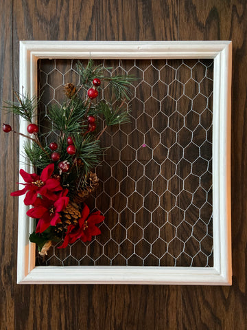 Framed Chicken Wire Christmas Decoration