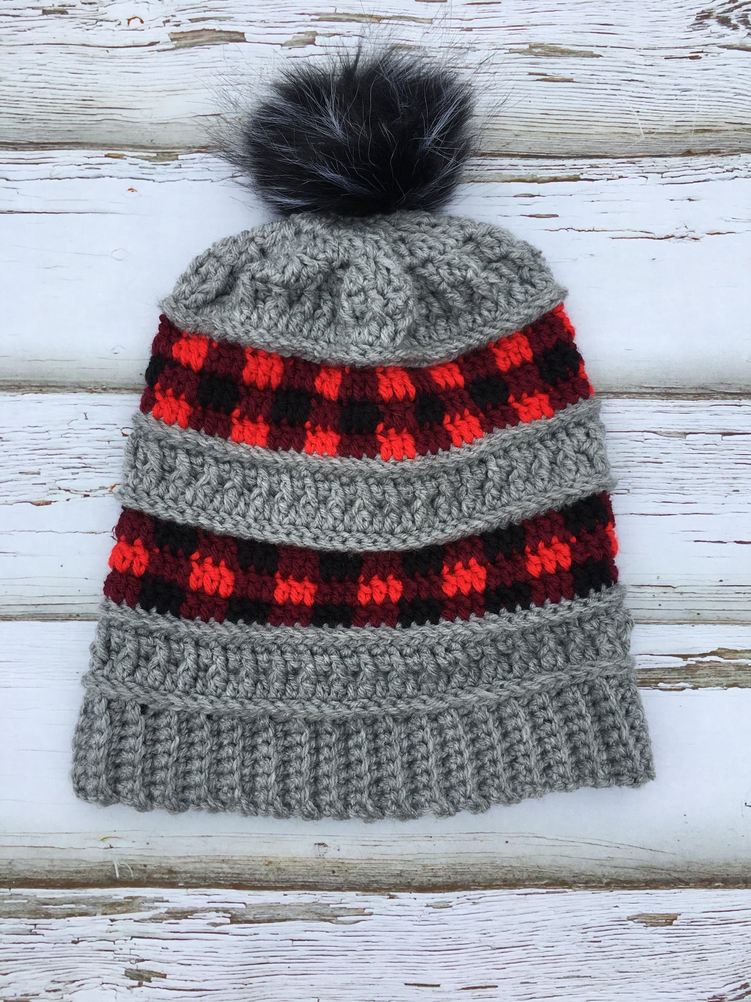 Slouchy Textured Plaid Hat