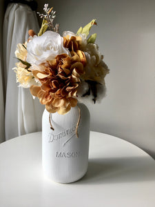 Large White Fall mason jar centrepiece with browns and oranges